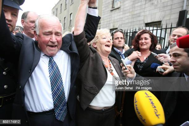 The family of Rachel O'Reilly including her Mother Rose and Father Jim Callaly cheer after leaving the Central Criminal Court Dublin