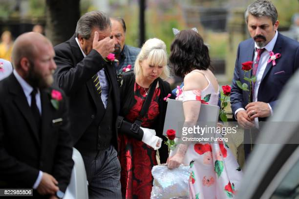 The family of Saffie Roussos her mother Lisa Roussos sister Ashlee Bromwich and father Andrew Roussos arrive at the funeral of the Manchester Attack...