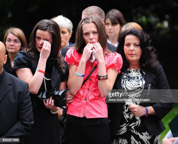 The family of the killed British soldier Sapper Jordan Rossi sister Kelly Fallon sister Lynsay Fallon and mother Theresa Rossi during his funeral...