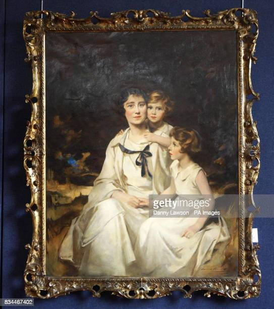 The family painting of the two princesses Elizabeth and Margaret and their mother by Charles Edmund Brock which is to be auctioned by Lyon and...