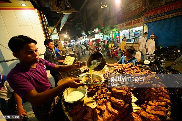 The famous Aslam Tandoori Chicken Corner in Bazar Matia Mahal in Chandni Chowk on August 20 2014 in New Delhi India Chandni Chowk often called the...