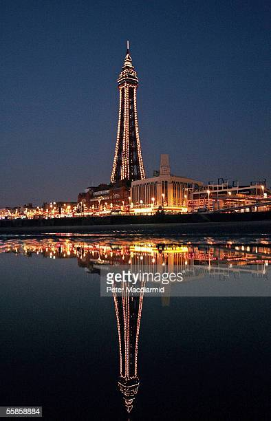 The famous Blackpool tower is seen in the traditional holiday destination Blackpool at night on October 5 2005 in Lancashire England Blackpool is one...