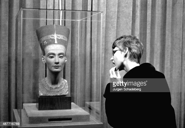 The famous bust of Nefertiti wife of Egyptian Pharaoh Akhenaten at the Dahlem Museum in West Berlin Germany 1961