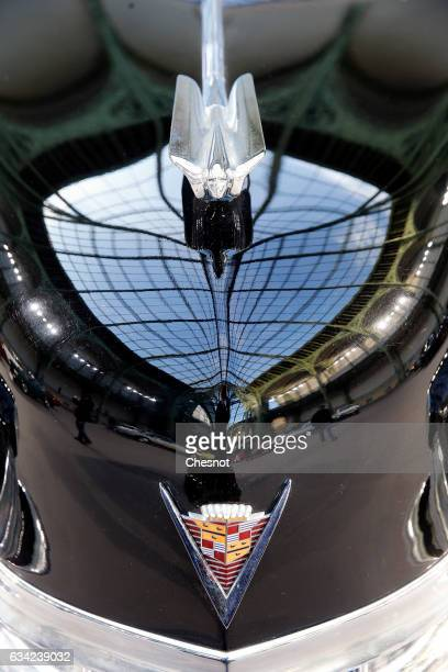 The famous Cadillac logo is seen during a press preview before a mass auction of vintage vehicles organised by Bonhams auction house at the Grand...