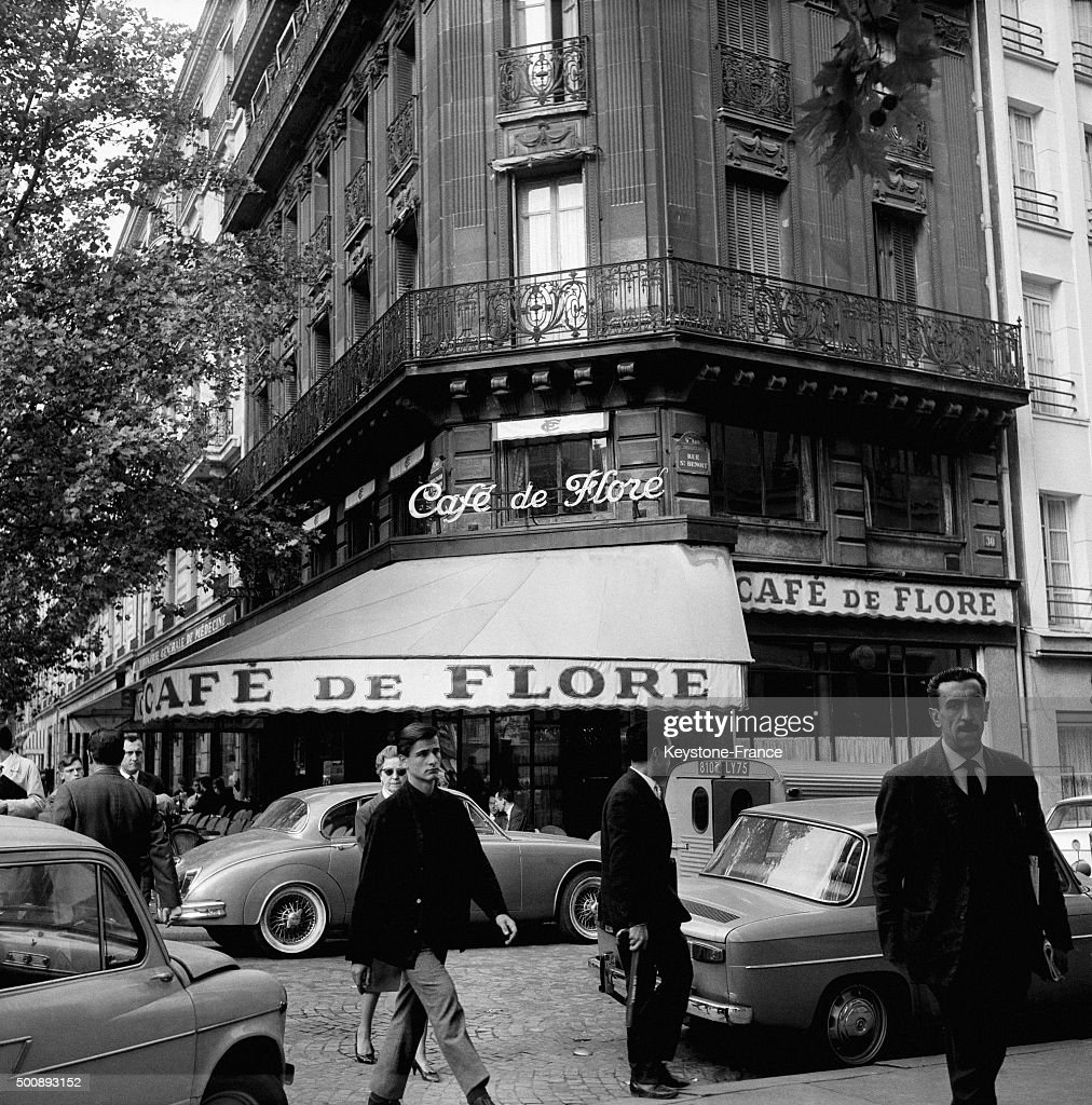 The famous Café de Flore in the SaintGermaindesPrés neighbourhood in September 1963 in Paris France