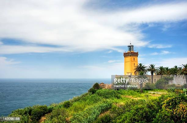 The famous Cap Spartel Lighthouse sits on the northwest tip of Africa at the entrance to the Mediterranean Sea, Morocco.