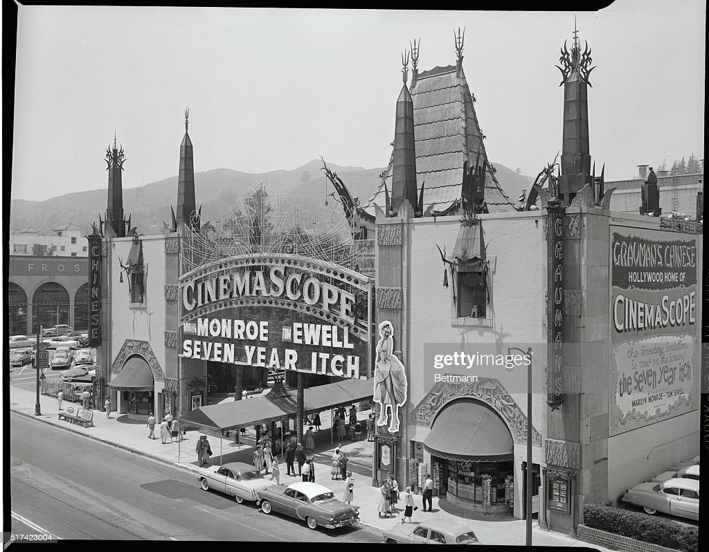 The famous Chinese Theater then owned by Sid Grauman showing The Seven Year Itch in 1955