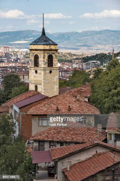 The famous clocktower of Kastamonu, seen among old houses. northern Turkey