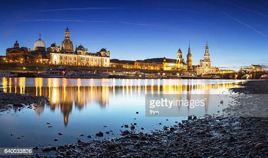 the famous dresden skyline with elbe river stock photo. Black Bedroom Furniture Sets. Home Design Ideas