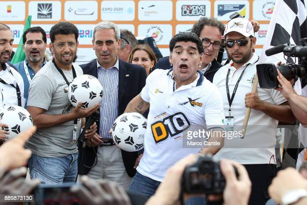 The famous football player Diego Armando Maradona during a meeting with the fans in Naples