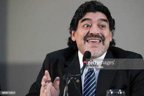 The famous football player Diego Armando Maradona during a press conference in Naples