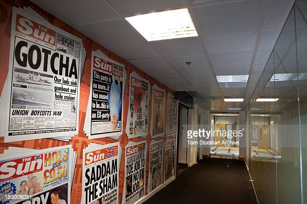 The famous 'Gotcha' front page on the wall of the deserted corridor near the Sun newsroom inside the former News International base in Wapping East...