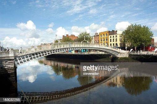 The famous Ha'penny bridge in Dublin Ireland