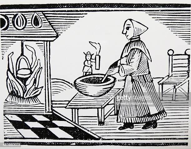 The Famous History of Tom Thumb'' Tom holds a candle so his mother can see to cook Late eighteenth century woodcut