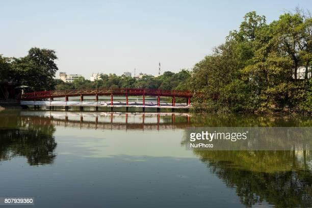 The famous Huc Bridge across Hoan Kiem Lake in Hanoi Vietnam on 5 June 2017 Hanoi is the capital of the Democratic Republic of Vietnam In October...
