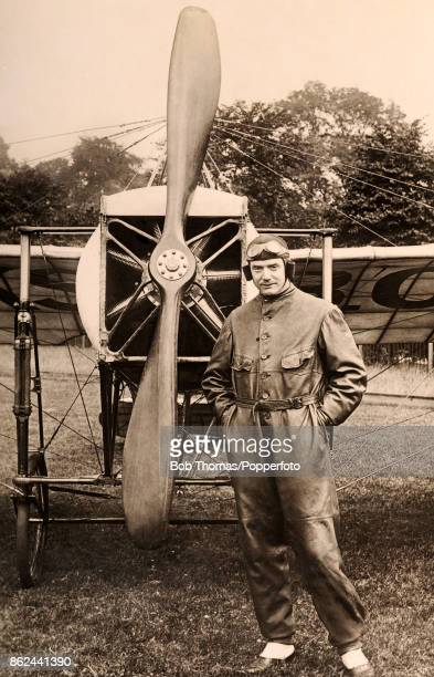 The famous looping airman Bentfield Charles Hucks standing next to his 80 horsepower Bleriot monoplane which he used when acting as aerial escort to...