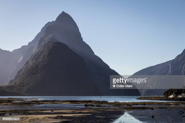 The famous Mitre peak in the Milford Sound in New Zealand