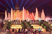 Colourful Majic Fountain on Placa d'Espanya, Barcelona