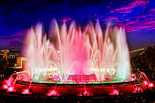 The famous Montjuic Fountain in Barcelona.Spain.
