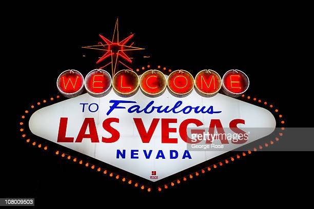 The famous neon 'Welcome to Las Vegas' sign located at the south entrance to town is viewed on December 23 2010 in Las Vegas Nevada Las Vegas the...