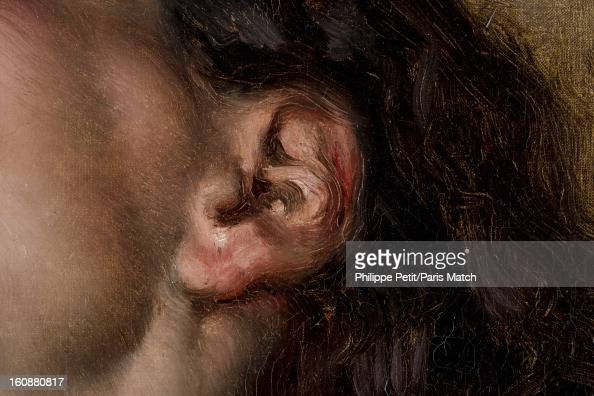 The famous painting 'L'Origine du Monde' by Gustave Courbet is photographed for Paris Match on January 31 2013 in Paris France PUBLISHED IMAGE A...