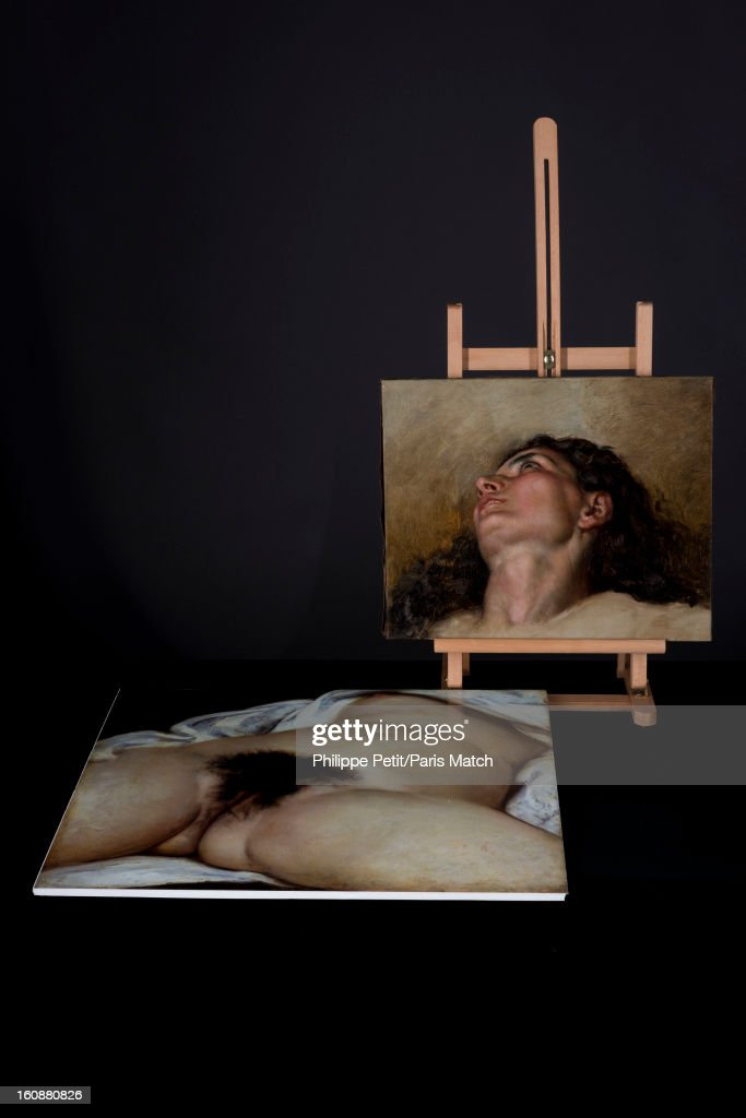The famous painting 'L'Origine du Monde' by Gustave Courbet is photographed for Paris Match on January 31, 2013 in Paris, France. PUBLISHED IMAGE. The face of the woman who was famously painted by Courbet was discover by an art lover in an antique shop. After two years of investigation, the painting was authenticated as the missing part of the famous painting 'L'Origine du Monde' by Gustave Courbet, revealing the face and body of his mistress Joanna Hifferman.