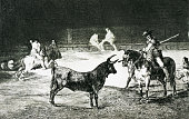 'The famous picador Fernando del Toro draws the fierce beast with his pike' From 'La Tauromaquia' series 18151816 Etching with aquatint | Part of...