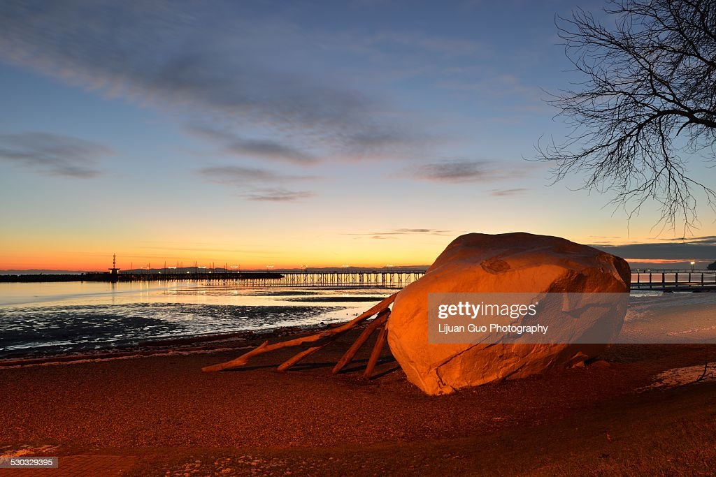 The Famous Rock of City Of White Rock at sunset