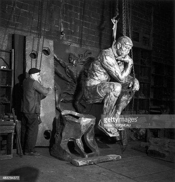 The famous sculpture 'The Thinker' in the Rudier foundry 1950