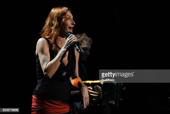 The famous singer and actress Ute Lemper at a concert in Athens on February 4 2017