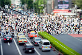 The famous six way pedestrian crossing photographed with a tilt lens in Shibuya, Tokyo, Japan