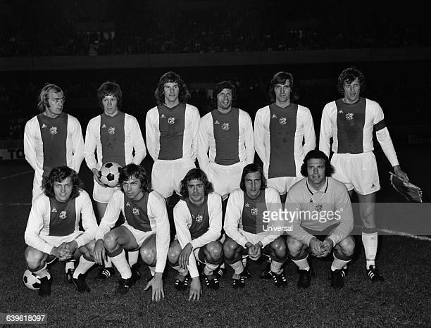The famous soccer team of Ajax Amsterdam Arie Haan Jan Mulder Johnny Rep Johan Neeskens and Heinz Stuy Horst Blankenburg Ger Muhren Pim Van Dord Wim...