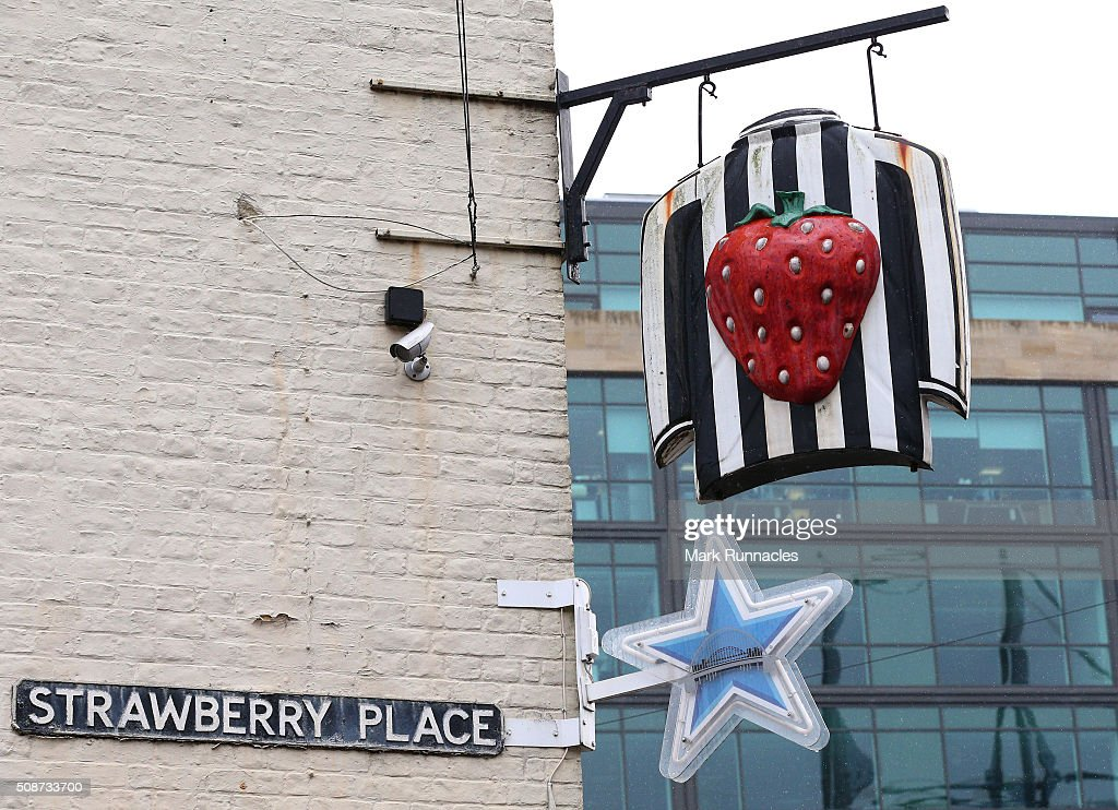 The famous Strawberry Pub outside St James' Park ahead of the Barclays Premier League match between Newcastle United FC and West Bromwich Albion FC at St James' Park on February 6, 2016 in Newcastle Upon Tyne, England.