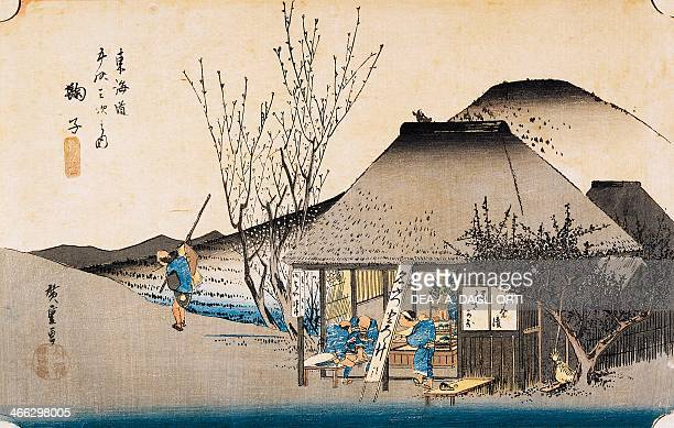 The famous teahouse in Mariko ukiyoe art print by Utagawa Hiroshige from The 53 Stations of the Tokaido Road Oban yokoe woodcut 254 x378 cm Japanese...
