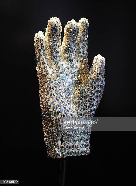 The famous white glove worn by Michael Jackson when he performed Billie Jean at the Grammy Awards in 1983 is seen on display at 'Michael Jackson The...