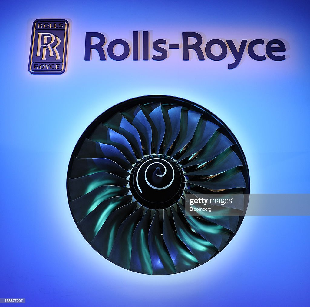 The fan blades of a Rolls-Royce Holdings Plc Trent 900 engine is displayed during the launch of the company's new facility in Singapore, on Monday, Feb. 13, 2012. Rolls-Royce plans to build 250 Trent engines a year in Singapore and raise the workforce in the city to 2,000. Photographer: Munshi Ahmed/Bloomberg via Getty Images