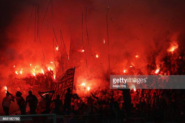 The fan of FC Koeln show their support during the UEFA Europa League group H match between 1 FC Koeln and Crvena Zvezda at RheinEnergieStadion on...