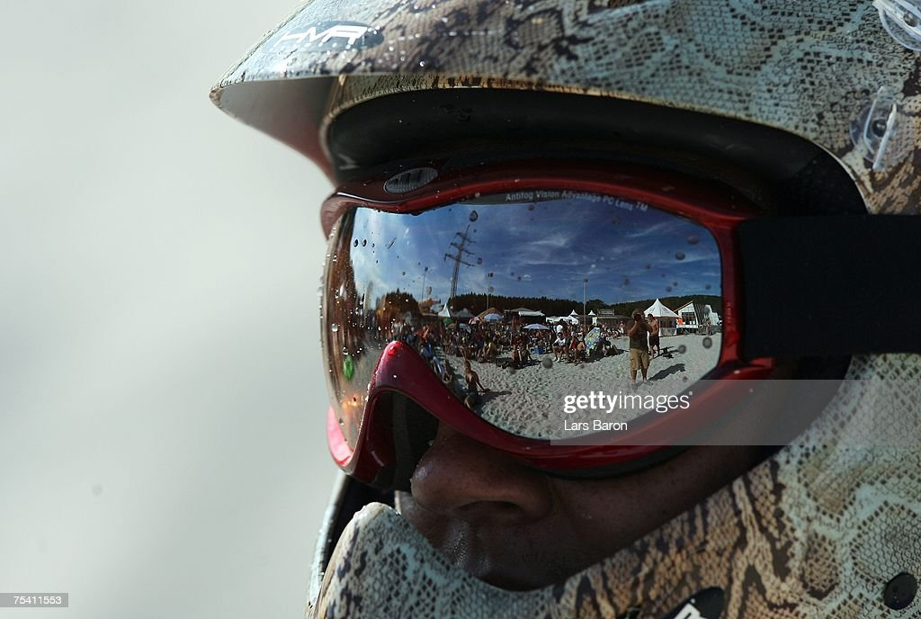 The fans are reflected in a sunglass of a unknown rider during the Sandboarding World Championship 2007 at the Monte Kaolino on July 14, 2007 in Hirschau, Germany.