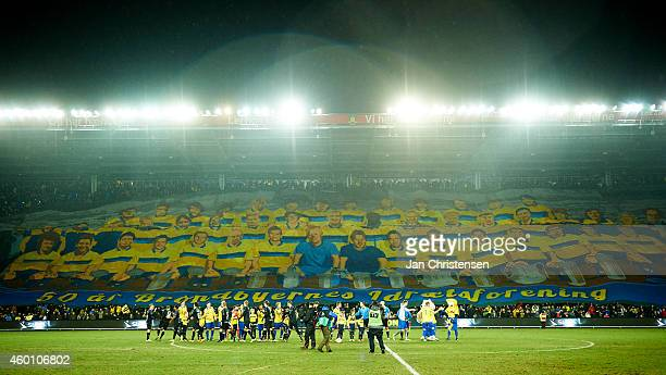 The fans from Brondby IF celebrate the 50'th birthday of Brondby IF prior to the Danish Superliga match between Brondby IF and Silkeborg IF at...