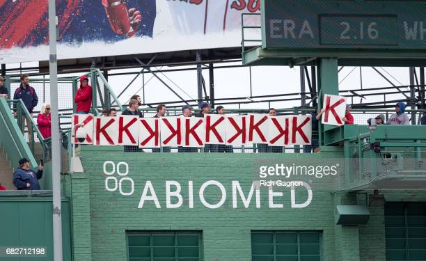 The fans in the centerfield stands post 'K' signs for each of Chris Sale of the Boston Red Sox' strikeouts during the seventh inning of a game...