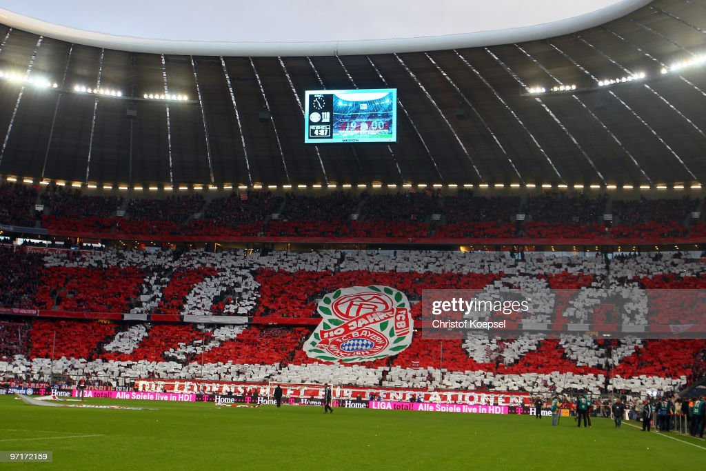 The fans of Bayern show a presentation of the 110th anniversary before the Bundesliga match between FC Bayern Muenchen and Hamburger SV at Allianz...
