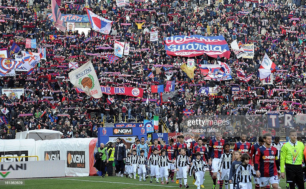The fans of Bologna celebrate before the Serie A match between Bologna FC and AC Siena at Stadio Renato Dall'Ara on February 10, 2013 in Bologna, Italy.