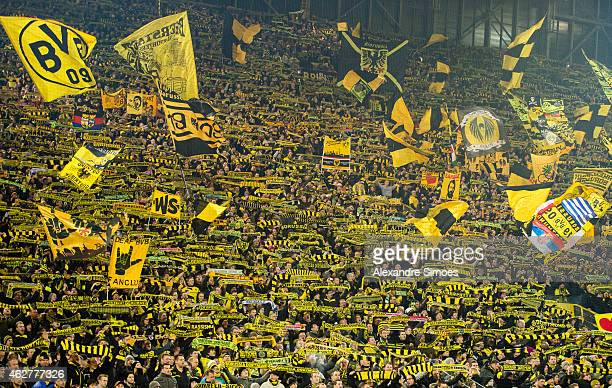 The fans of Borussia Dortmund during the Bundesliga match between Borussia Dortmund and FC Augsburg at Signal Iduna Park on FEBRUARY 04 2015 in...