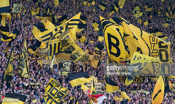 The fans of Borussia Dortmund during the Bundesliga match between Borussia Dortmund and SV Werder Bremen at Signal Iduna Park on May 23 2015 in...