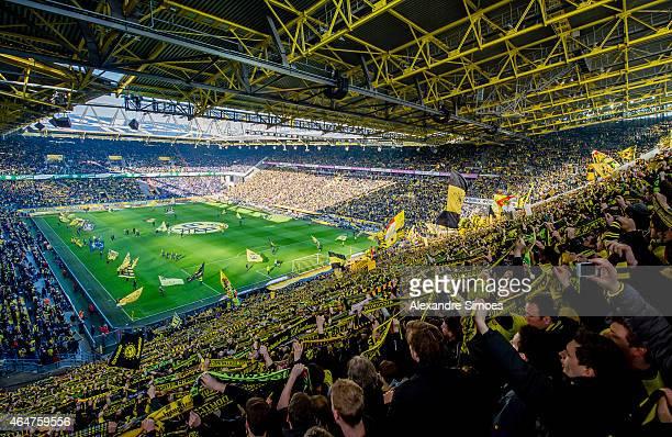 The fans of Borussia Dortmund right before the Bundesliga match between Borussia Dortmund and FC Schalke 04 at Signal Iduna Park on February 28 2015...