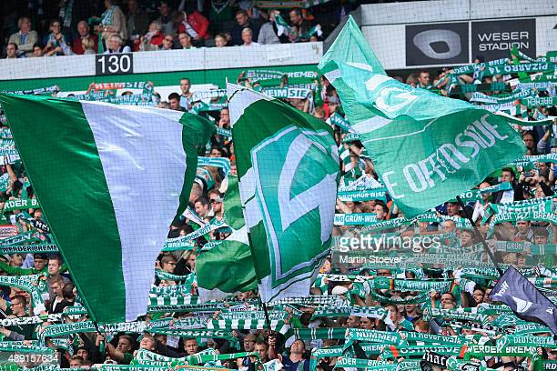 The Fans of Bremen during the Bundesliga match between Werder Bremen and FC Ingolstadt at Weserstadion on September 19 2015 in Bremen Germany