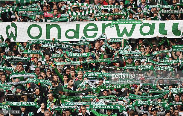The fans of Bremen show their support during the Bundesliga match between Werder Bremen and VfB Stuttgart at the Weser stadium on May 02 2016 in...