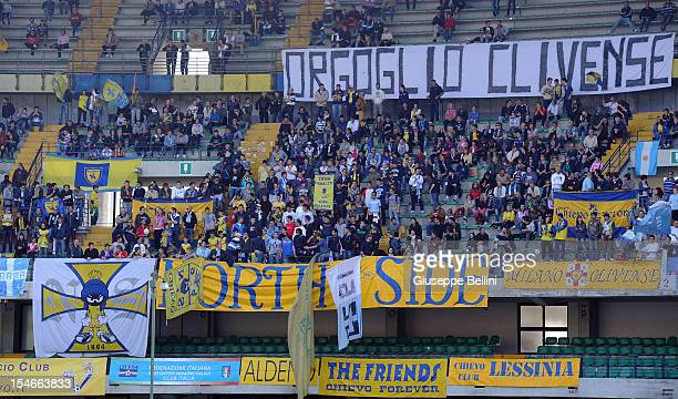 The fans of Chievo during the Serie A match between AC Chievo Verona and ACF Fiorentina at Stadio Marc'Antonio Bentegodi on October 21 2012 in Verona...