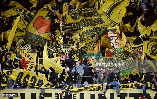 The fans of Dortmund celebrate prior to the Bundesliga match between SV Darmstadt 98 and Borussia Dortmund at MerckStadion am Boellenfalltor on March...