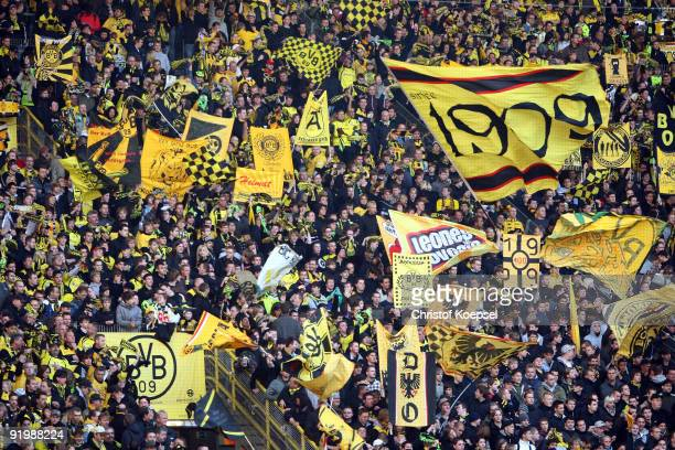 The fans of Dortmund celebrate their team during the Bundesliga match between Borussia Dortmund and VfL Bochum at the Signal Iduna Park on October 18...